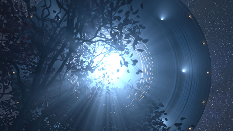 Illustration of a blue UFO hovering above the treetops.