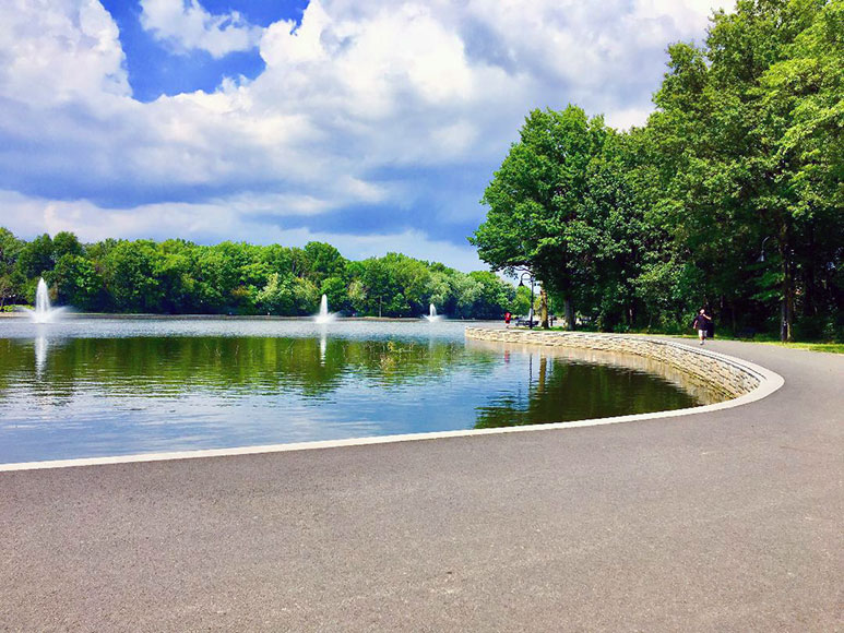 Lake near the Stonehenge apartment building and North Hudson Park in North Bergen NJ.