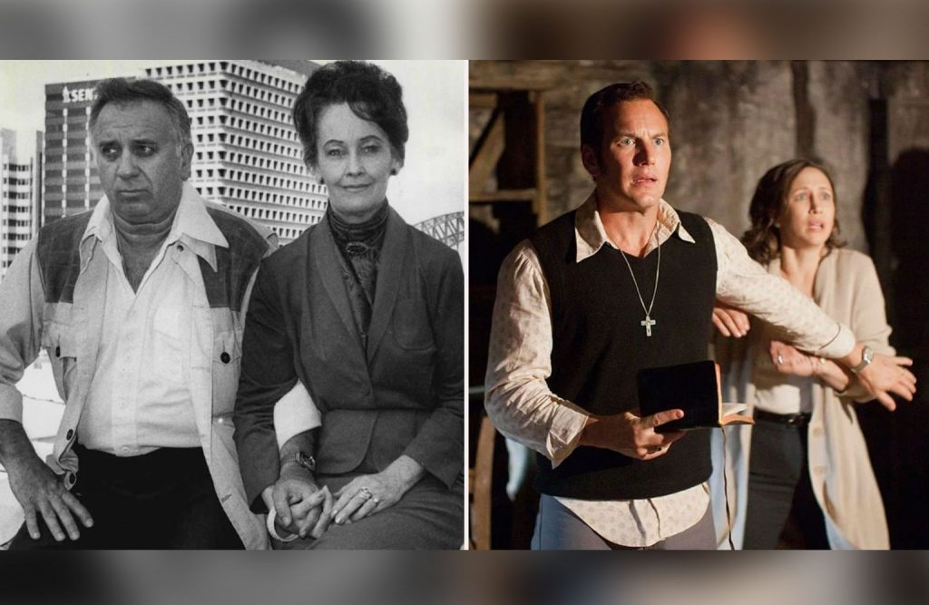 Real-life Ed and Lorraine Warren and the actors that play them.