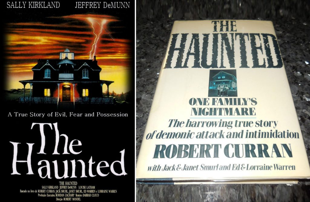 Side by side comparison of The Haunted movie poster with The Haunted book cover.